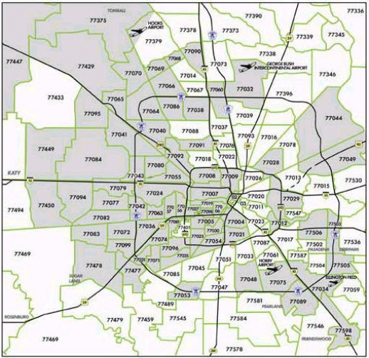 Houston Map Area Codes